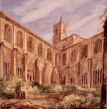 Dibujo del 'Claustro del Monasterio de Santa María la Real de Nájera' - Valentín Carderera