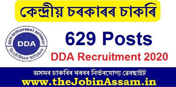 DDA Recruitment 2020: Apply Online for 629 Posts