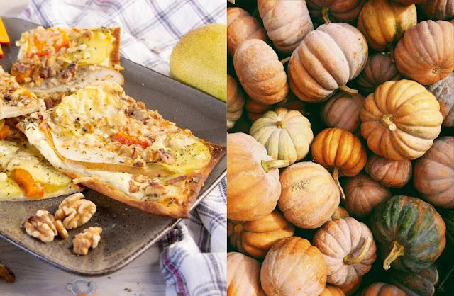 Kürbis-Kartoffel-Flammkuchen mit Birne und Walnuss