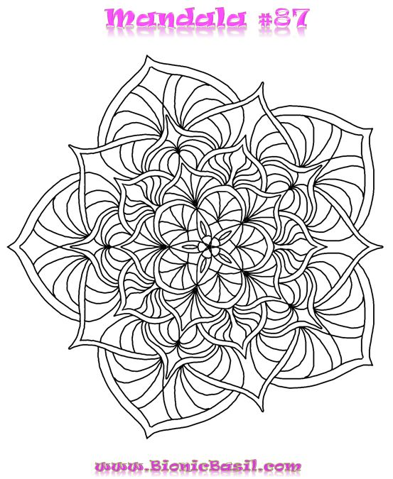 Mandalas on Monday #87 ©BionicBasil® Colouring With Cats Downloadable Picture
