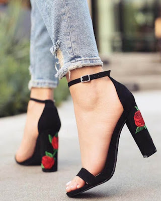 elegant heels with rose