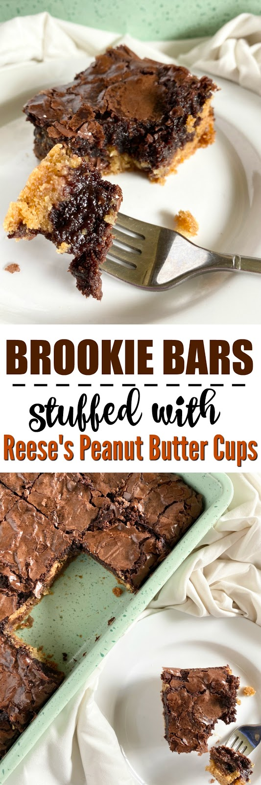Reese's Peanut Butter Cup Stuffed Brookie Bars