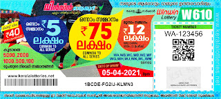Kerala Lotteries Results 05-04-2021 Win Win W-610 Lottery Result