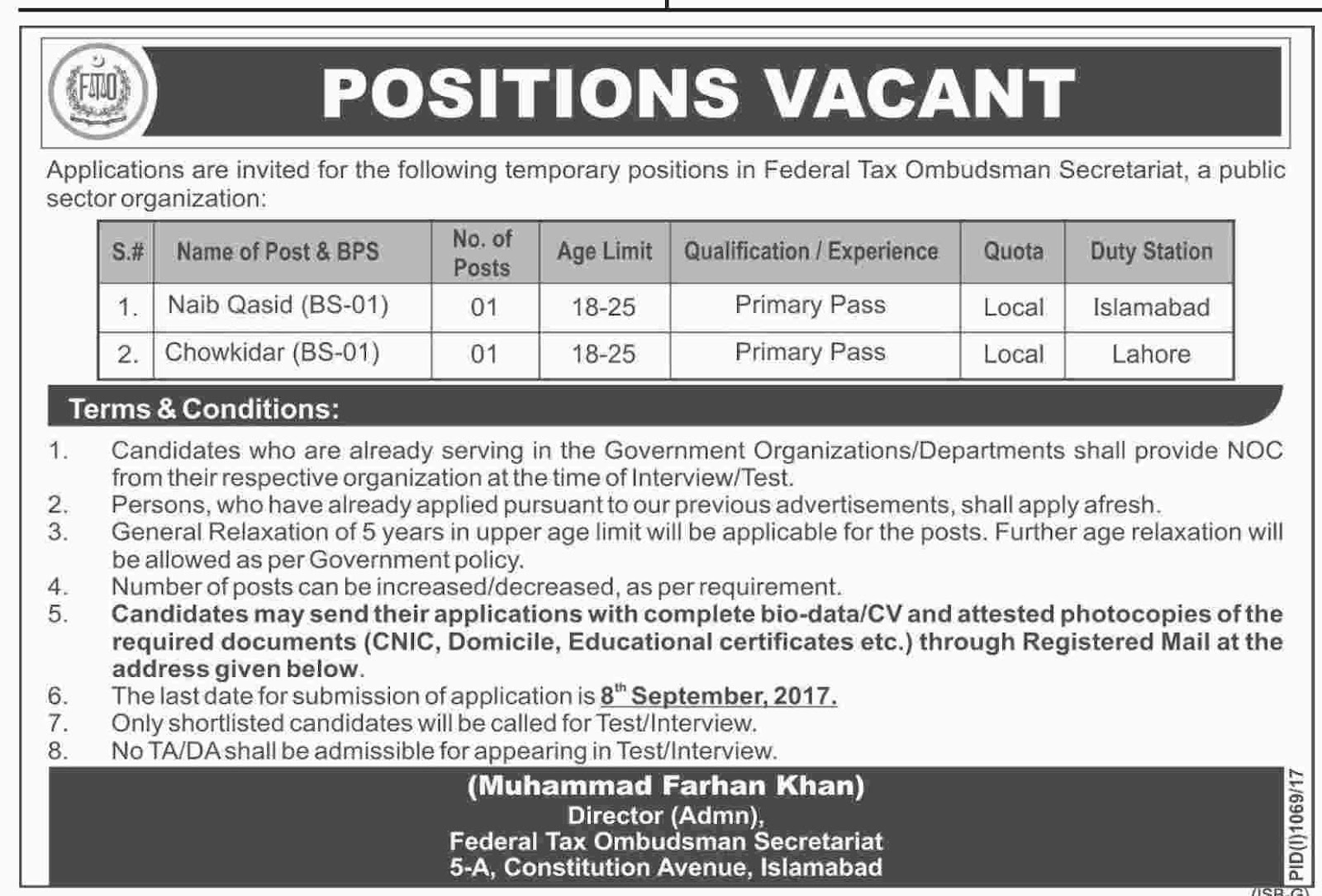 Jobs In Federal Tax Ombudsman Secretariat  Aug 2017