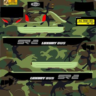 Download Livery Arjuan XHD Livery Bus Tentara Loreng