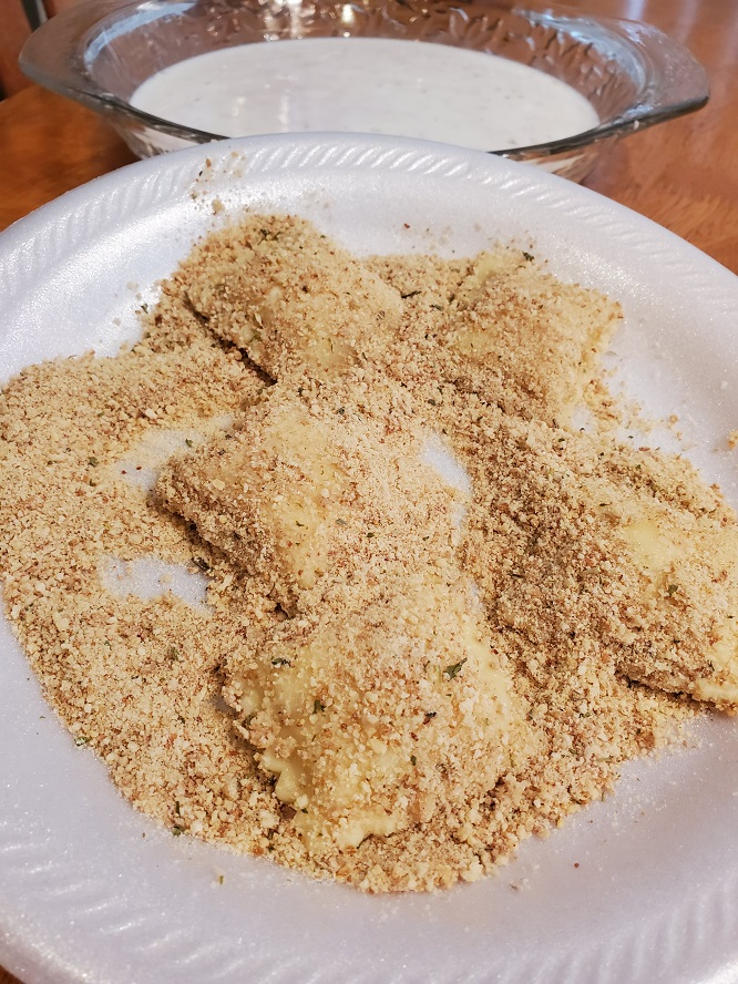 these are dipped ravioli in buttermilk then into Italian flavored breadcrumbs