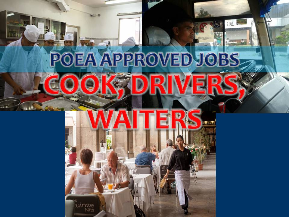 Hundreds of jobs for a COOK, DRIVER, WAITER / WAITRESS is being opened for Filipinos in different countries abroad. Countries such as Saudi Arabia, Kuwait, Bahrain, United Arab Emirates, Oman, Qatar, Oman and Australia.
