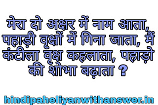 Tree's and Plant's Hindi Paheliyan With Answer