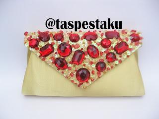 Tas Pesta Handmade Gold Mix Batu Merah Maroon Cantik Buat Acara Resmi