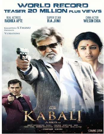 Poster Of Kabali 2016 Hindi Dubbed 600MB HDRip 720p HEVC Free Download Watch Online downloadhub.in