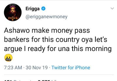 "Erigga Says ""Ashawo"" Work Is Better Than Banking Jobs In Nigeria"