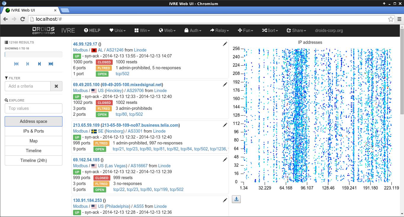 IVRE - A Python network recon framework, based on Nmap, Bro
