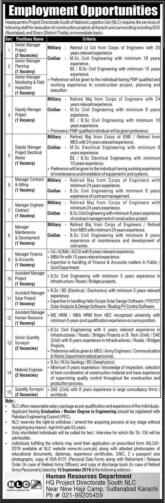 National Logistics Cell (NLC) Nooriabad & Thatta Jobs 2019