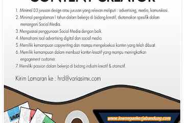 Lowongan Kerja Bandung Content Creator Variasimx