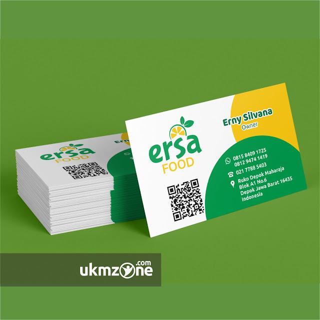 Jasa desain kartu nama untuk usaha mikro kecil menengah UMKM IKM Ersa Food Depok - UKM ZONE