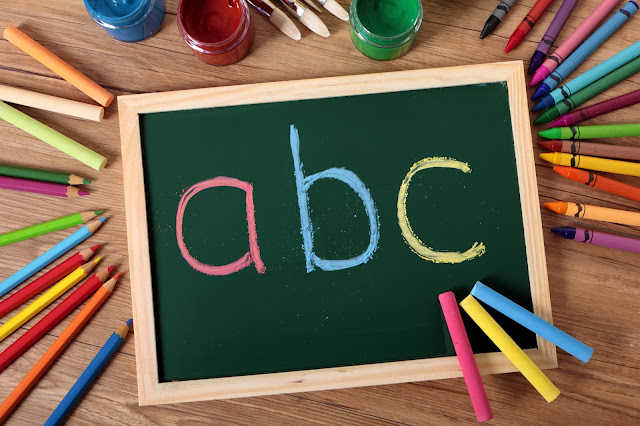 Flatlay showing a chalkboard with abc written on it, surrounded by crayons, chalks