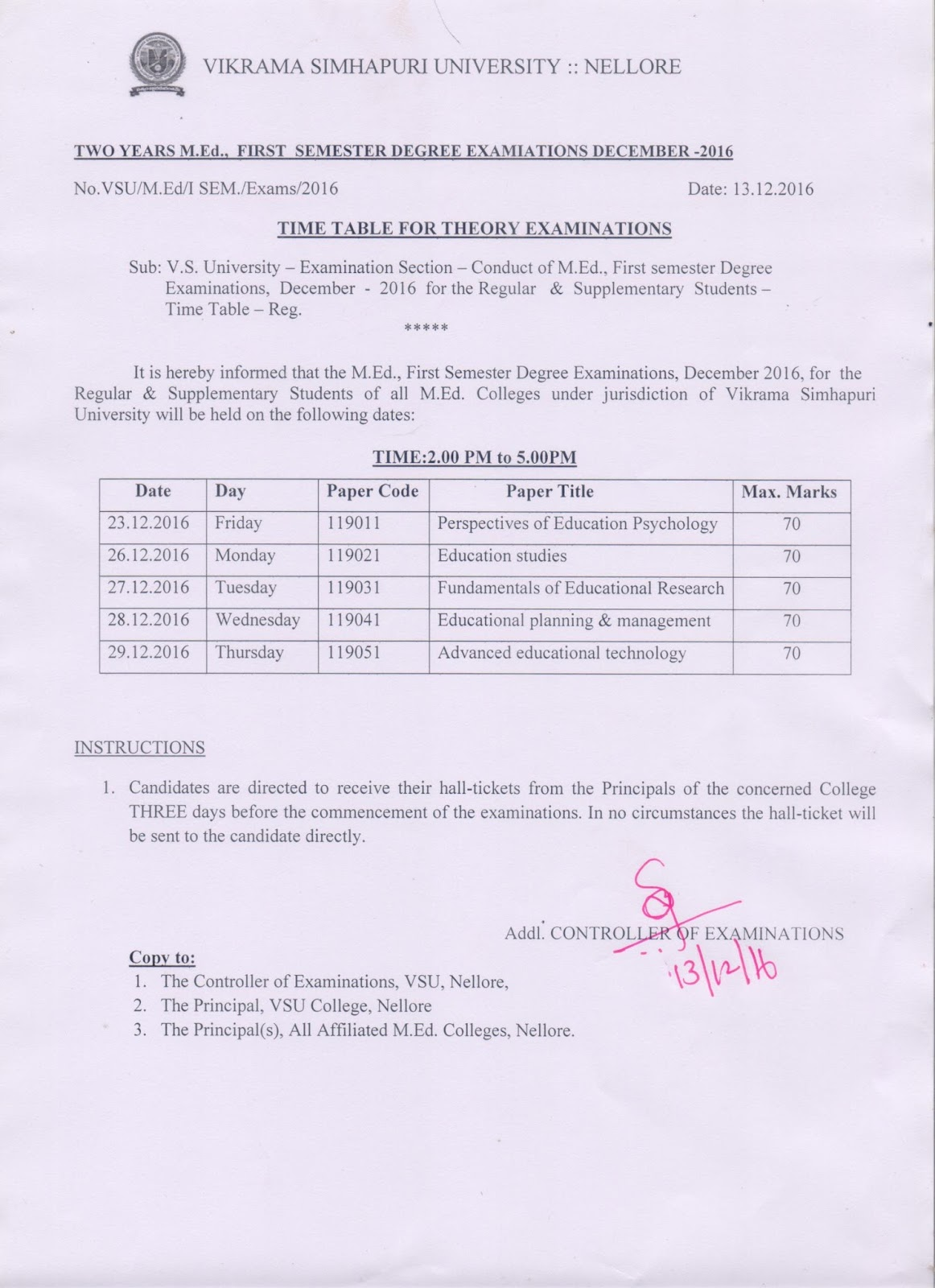 Vikrama simhapuri university m ed 1st sem december 2016 for Davv 4th sem time table