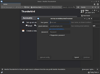 Thunderbird Linux Initial Screen