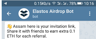 Elastos Airdrop 1 ETH telegram bot