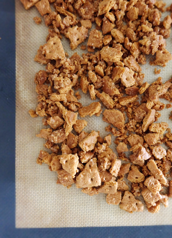 baked graham cracker streusel on silicone mat