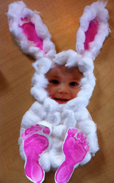 Easter bunny footprint, photot and cotton ball craft idea for kids