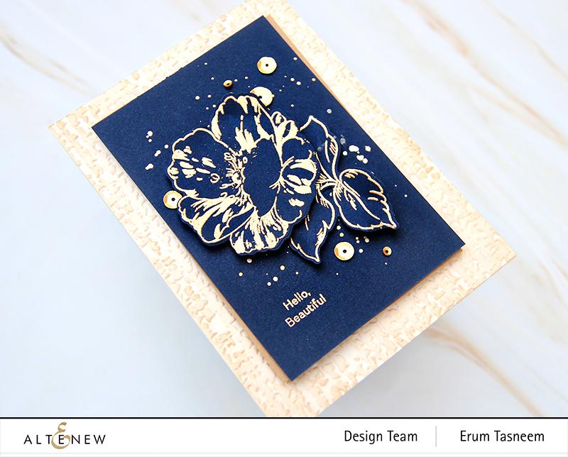 Altenew Queen Anemone Stamp Set + Organic Linen 3D Embossing Folder   Erum Tasneem   @pr0digy0