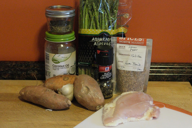 The ingredients needed to make the roasted chicken with asparagus and sweet potato recipe