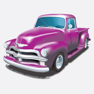 Illustration of Purple 54 Chevy Pickup