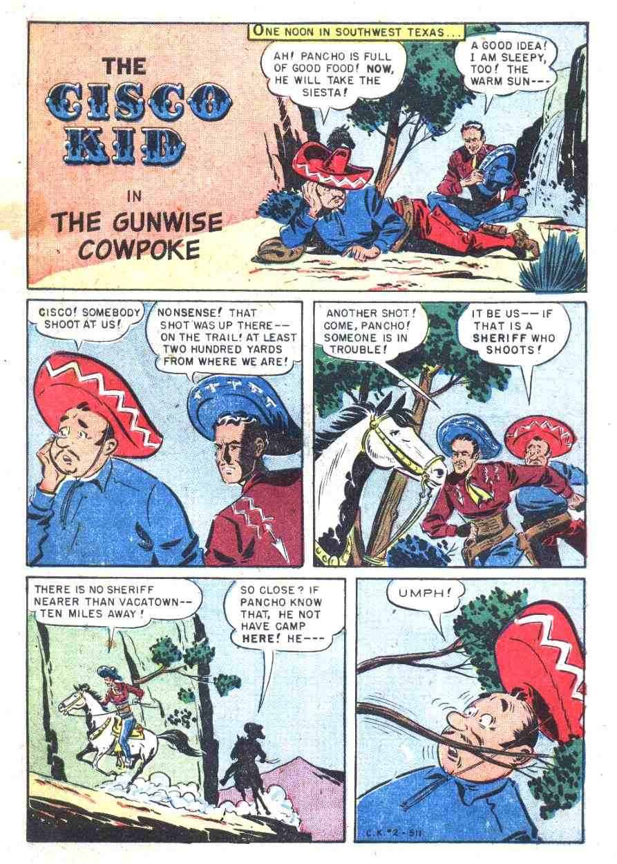 Comic Story The Gunwise Cowpoke 10 Pages Featuring Cisco Kid Credits Pencils Bob Jenney