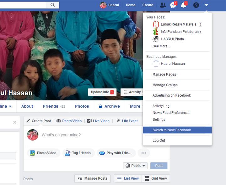 Facebook dengan paparan baharu