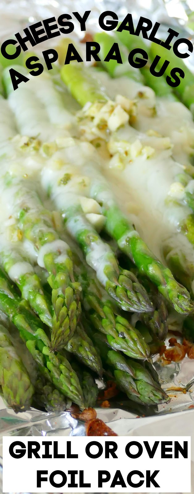 This side dish is simple to make on the grill or in the oven! It combines easy ingredients like asparagus, cheese, garlic, butter and seasonings for a mouthwatering side to go with chicken, beef, fish, seafood or pork! Great as a meatless meal too!