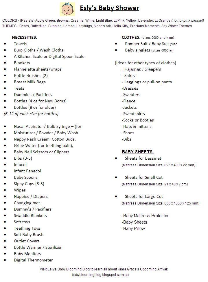 Kiara-Grace Stampek: Baby Shower List