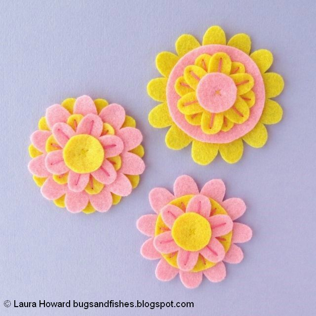 Felt Flower Brooches Tutorial: embroider the flowers