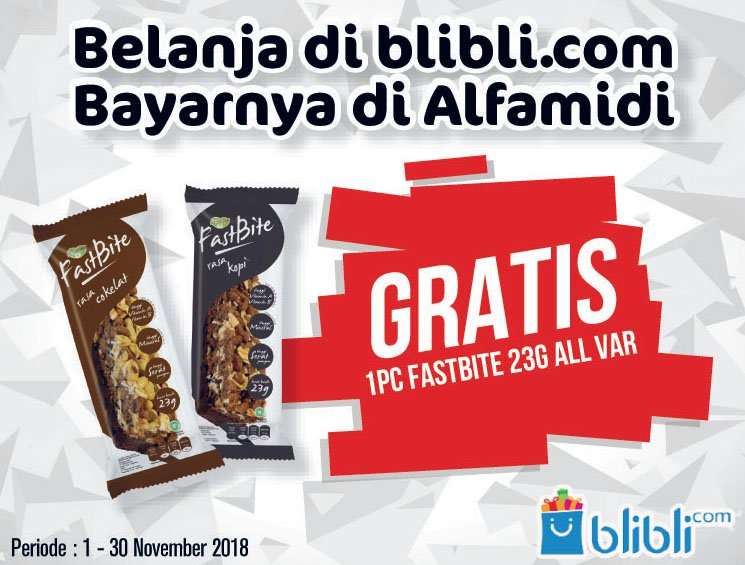 Alfamidi - Promo Bayar Blibli Gratis 1 Pc Fastbite 23gr All Variant (s.d 30 Nov 2018)