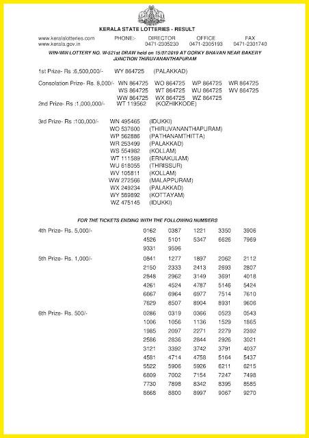 Kerala Lottery Result 15-07-2019 Win Win Lottery Results W-521 keralalotteriesresults.in-001