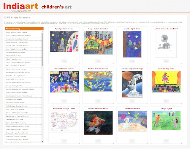 Snapshot of Child Artists Directory on Indiaart.com