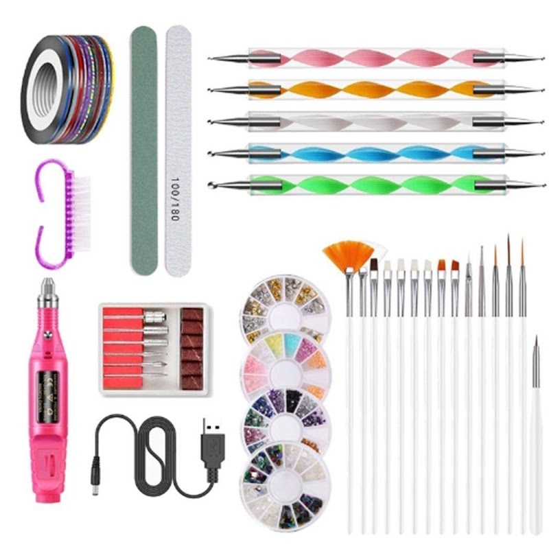 80%  off Nail Art Manucure Kit 15 Painted Pens Nail Polisher Accessory Set Acrylic Nail Tools