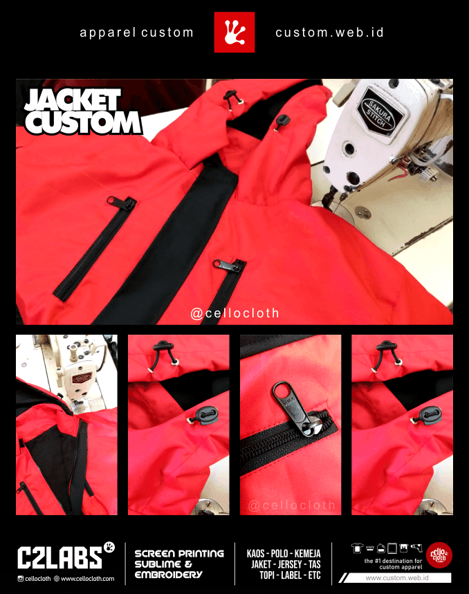 Detail Produk Bikin Jaket Custom Waterproof - C2Labs Cellos CLothes