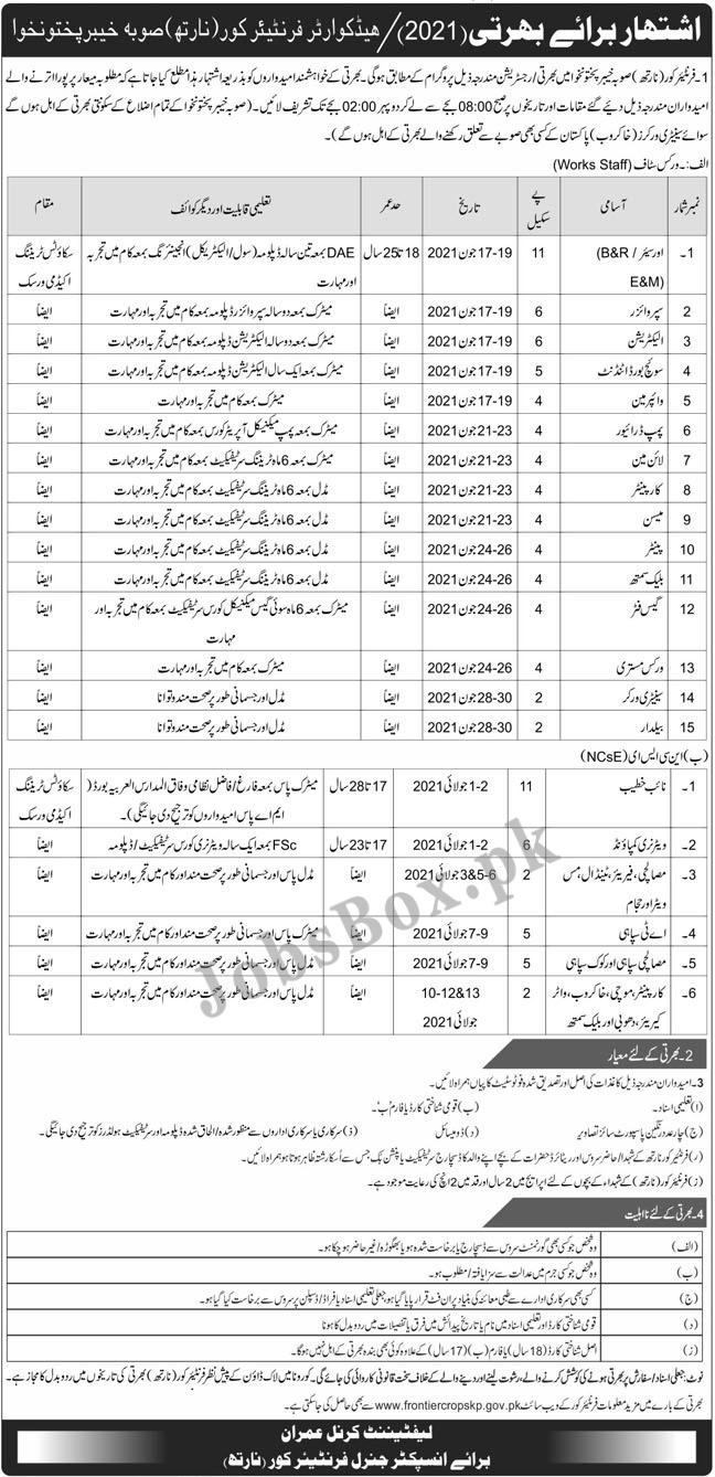 Latest Frontier Corps FC Pak Army Jobs Advertisement 2021