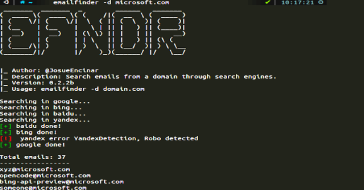 EmailFinder : Search Emails From A Domain Through Search Engines