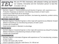 Lowongan Kerja PT. Toshiba TEC Indonesia