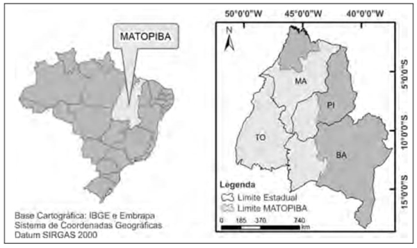 O mapa ao lado representa o MATOPIBA, que compreende uma área dos estados do Maranhão, Tocantins, Piauí e Bahia, considerada, na atualidade, a grande fronteira agrícola nacional com desdobramentos diretos na economia regional.
