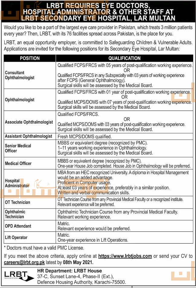 private,lrbt secondary eye hospital lar multan,multiple medical positions,latest jobs,last date,requirements,application form,how to apply, jobs 2021,