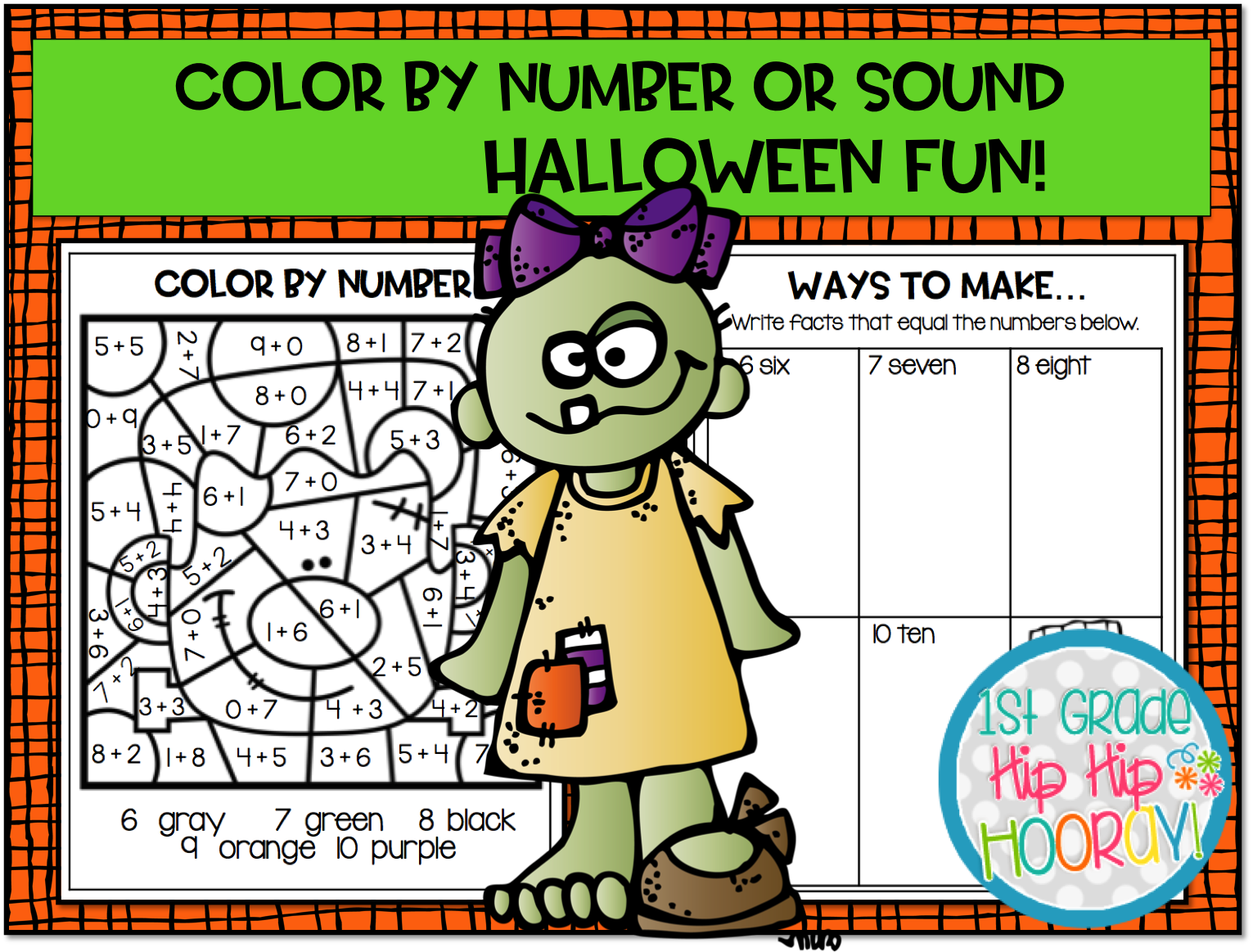 Colore By Number Worksheet 1 Grade