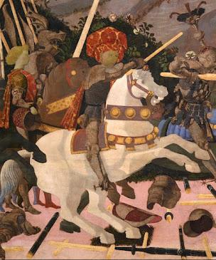 Niccolò da Tolentino empuñando su lanza y dando inicio a la contienda