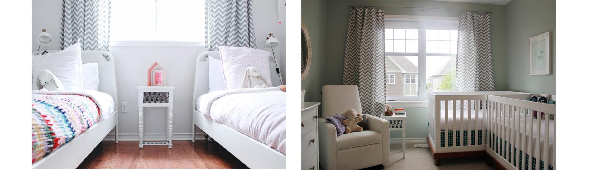 twin nursery and twin bedroom