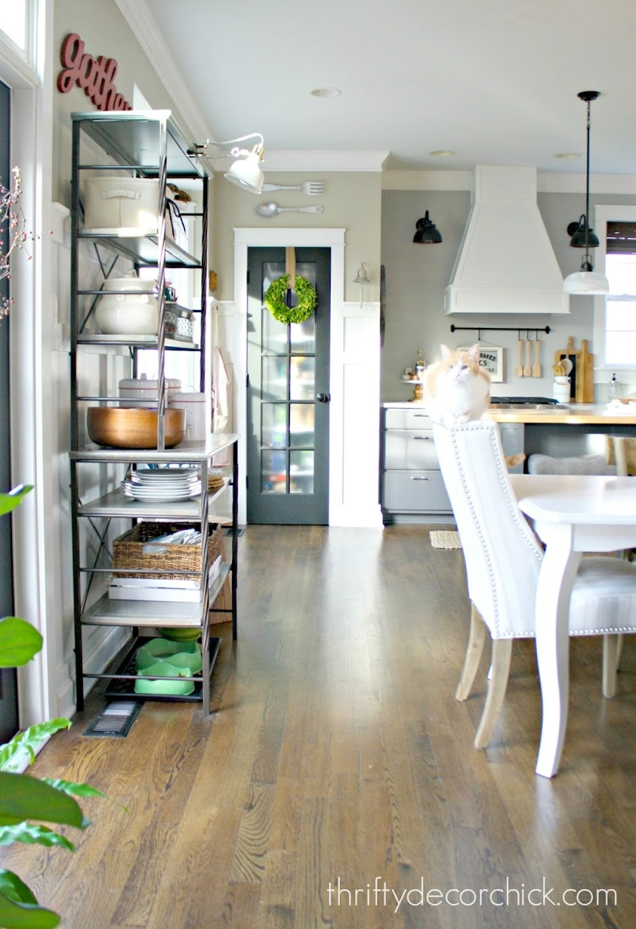 metal and wood shelves in kitchen