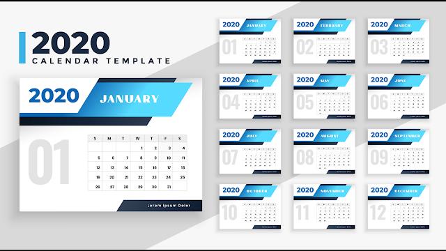 Kalender 2020 Vector CDR / Ai
