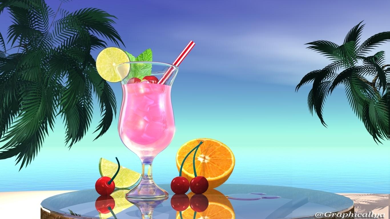 graphicallya fond d 39 cran vacances 4 cocktail sur la plage. Black Bedroom Furniture Sets. Home Design Ideas