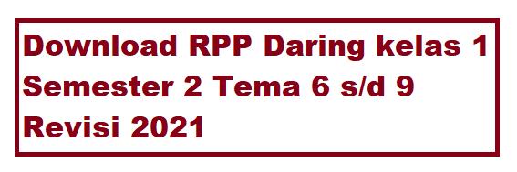 Download RPP Daring kelas 1 semester 2 Revisi 2021